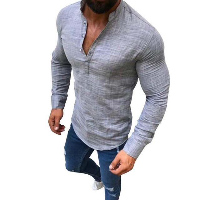 b997f728d5e0 2019 Sexy Men Long Sleeves V Neck Blouse Summer Fashion Casual Cool Clothing  Slim Fit Tees Tops Male Breathable Linen Shirts