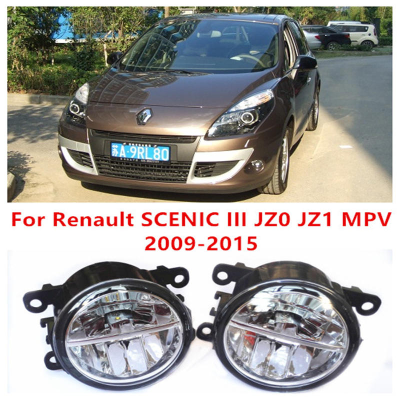 ФОТО For Renault SCENIC III JZ0 JZ1 MPV  2009-2015 10W Fog Light LED DRL Daytime Running Lights Car Styling lamps