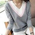2016 Осень зима новый женский трикотажные рубашки с длинными рукавами V-образный Вырез свитера свободно сплошной цвет свитера пуловеры