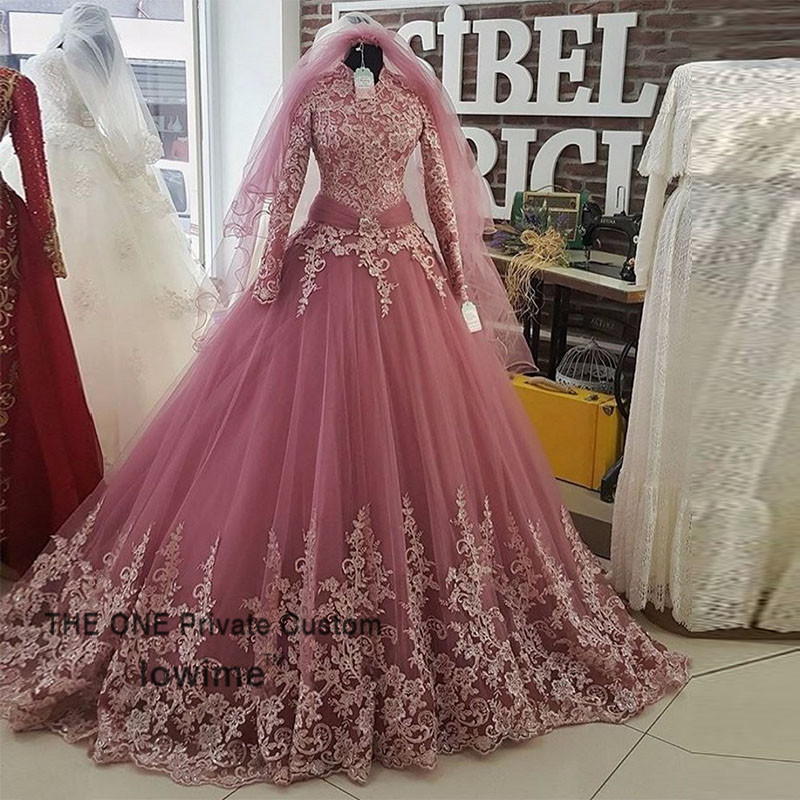 Pink Arabic Muslim Wedding Dress 2017 New Arrival Lace