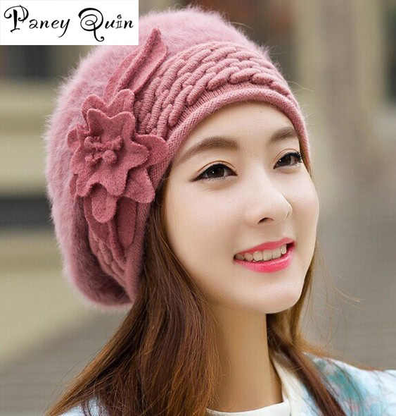 eca3375ccd1 Detail Feedback Questions about Women Beret beanie caps Knitted Hat ...