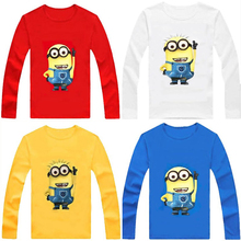Brand New 100% Cotton boys t shirt despicable me 2 minion short t-shirts kids baby children t shirts, child long sleeve clothes