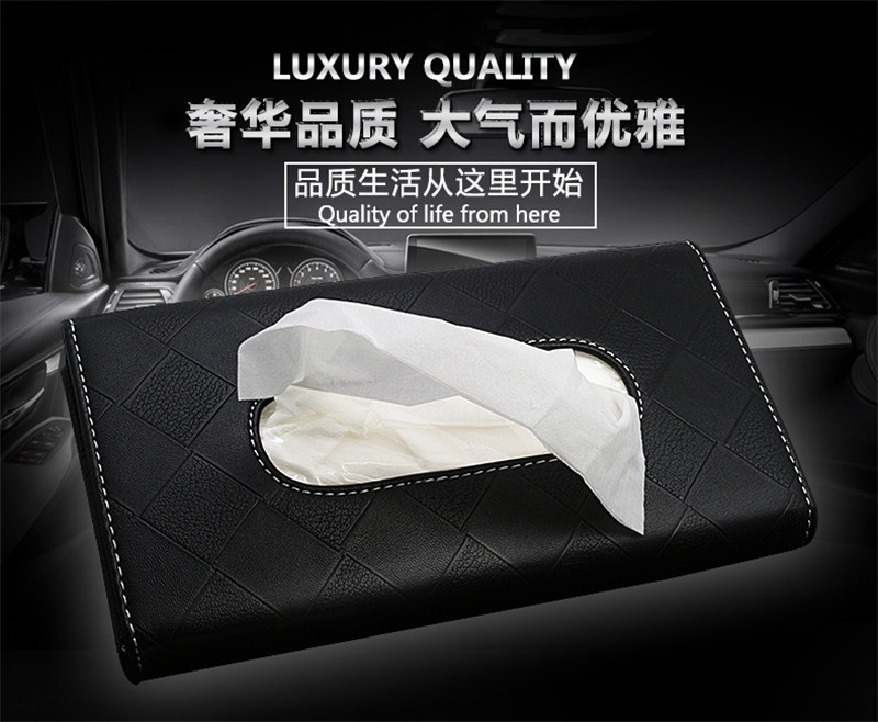 2 Car Styling Sun Visor Tissue Box Fashion 3 Colors Functional PU Leather Tissue Boxes Rear Clip Holder  Simplicity Design for Car