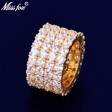 Missfox 4 Rows Of Lab Diamond Rings Golden Shine Fascinating Copper Ring Trendy Jewels Hip Hop Style Hot Selling 2019 Party(China)