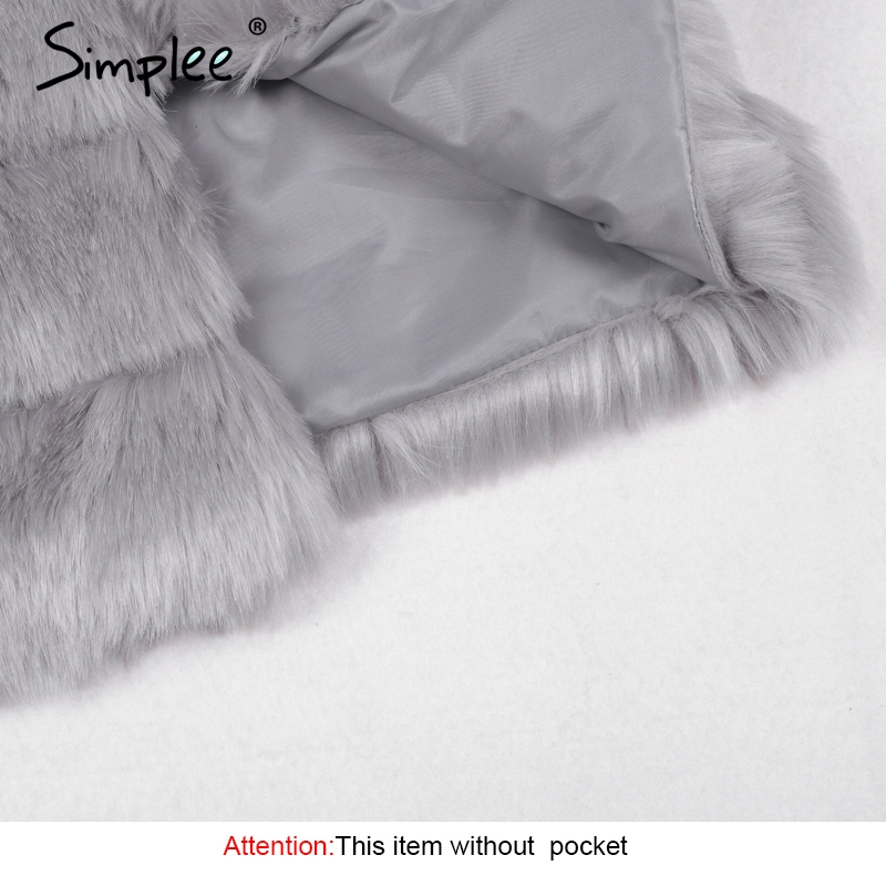 Image 5 - Simplee Vintage fluffy faux fur coat women Short furry fake fur winter outerwear pink coat 2018 autumn casual party overcoat-in Faux Fur from Women's Clothing