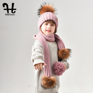 Image 3 - Furtalk Kids Beanie Hat and Scarf Set Girl Boy pompom Hat Scarf Child Thick Warm Winter Knit Hats with Raccoon Fur Ball Age 2 14