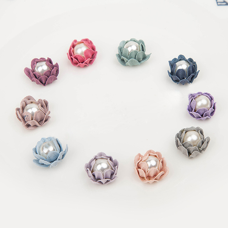 2cm Rose Bud Flower Mini Hair Accessories Flower Bouquet Bud Fake Artificial Flowers with pearl in the center