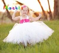 2017 White Color Kids Girl Tulle Tutu Dress Flower Girl Dresses Baby Christening Dress Photo Props Girl Flower Dress for Summer