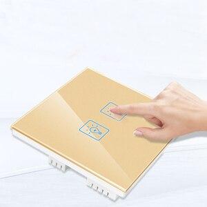 Image 2 - בריטניה חכם בית אור קיר מגע מתג, 86mm גביש זכוכית פנל, 2 כנופיית 1 דרך קיר טקט מתג, AV 180 250V, 50 W