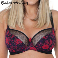 BAICLOTHING Plus Size Women's Full Coverage Underwire Non padded Lace Floral Unlied Bra Lingerie 34 36 38 40 42 44 FF G H JJ K