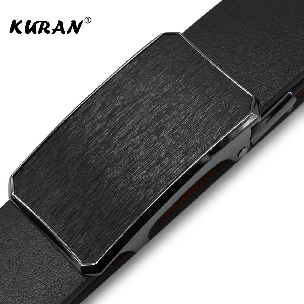 KURAN Leather Mens   Belts   Automatic Buckle Fashion   Belts   For Men Business Popular Male Brand Black   Belts   Luxury