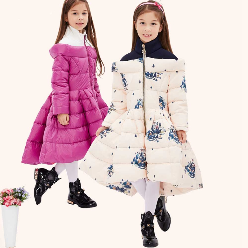 ФОТО New Girls Winter X-Long Fashion Floral Clothes Hem Outwear Down Jacket For Girl Teens Thicken Warm Winter Coat 4T-13T