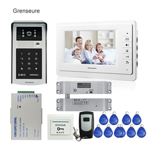 FREE SHIPPING 7″ Color Screen Video Door Phone Doorbell Intercom + RFID Keypad Touch Doorbell Camera + Electric Drop Bolt Lock