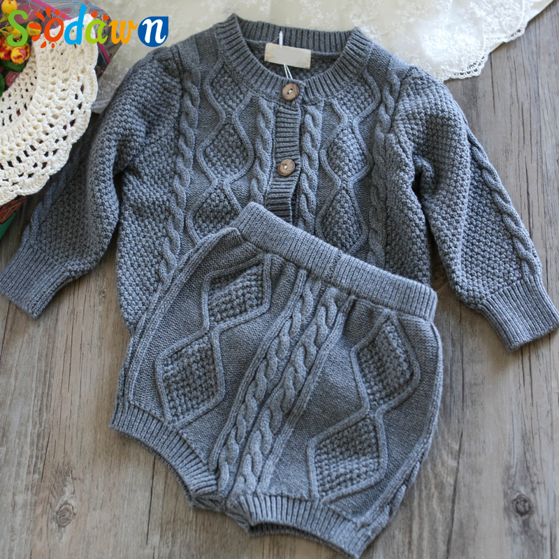 Sodawn Autumn Winter New Children Clothing Boys Girls Baby Knit Sweater Cardigan + Shorts Suit Baby Clothes Suit