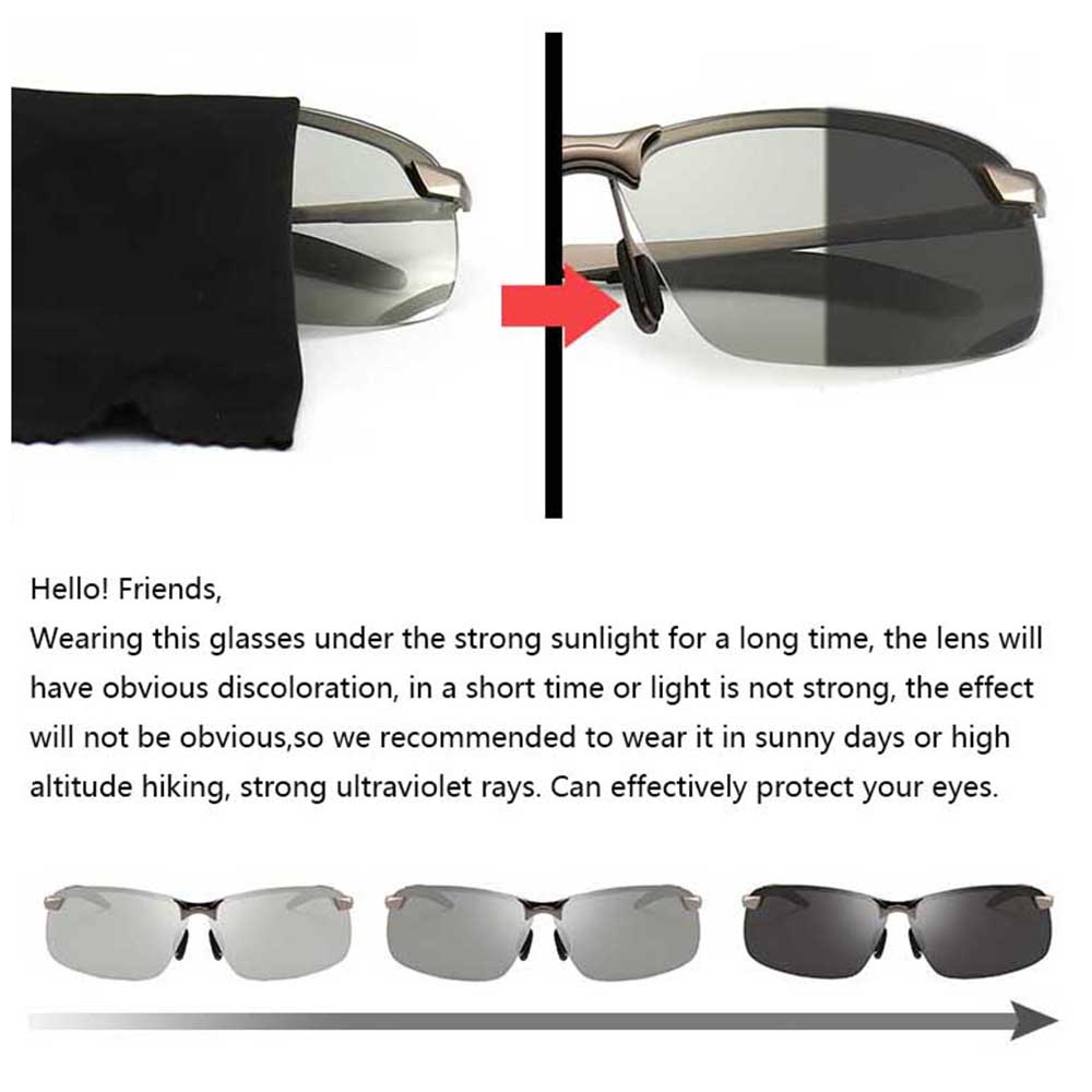 Photochromic Sunglasses Men Driving Cool Chameleon Glasses Male Change Color SunGlasses Day Night Vision Driving Eyewear in Cycling Eyewear from Sports Entertainment