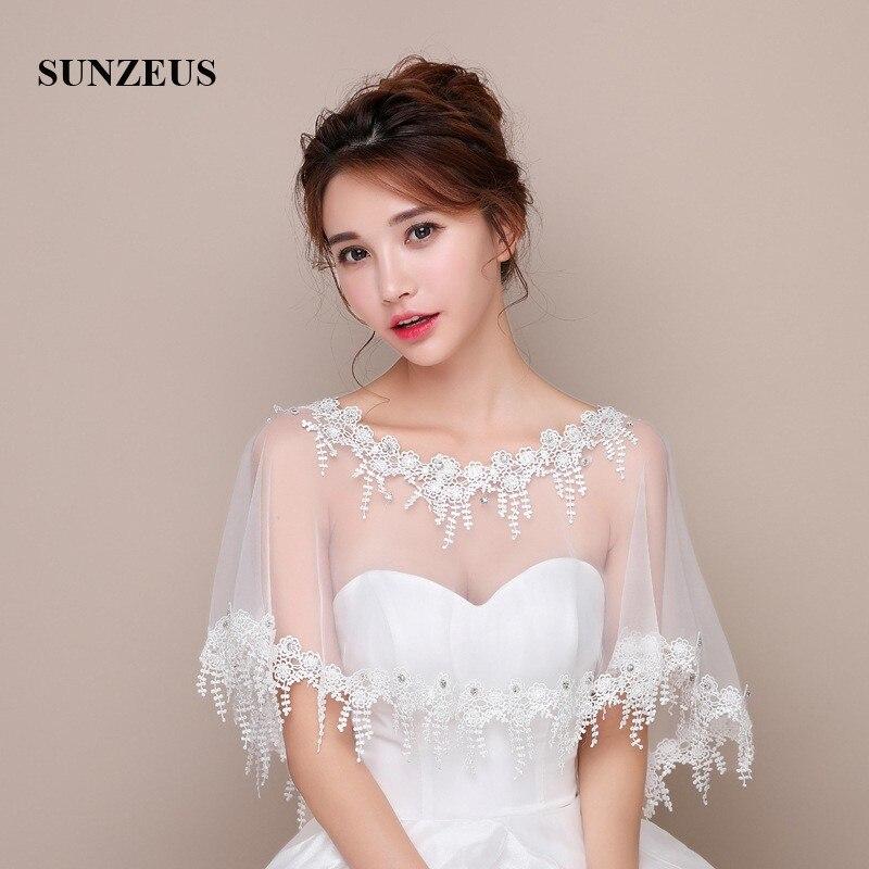 5df42b41f7d Online Shop Scoop Bridal Wraps Bolero with Beaded Wedding Accessories Lace  Edge Women s Summer Dress Accessories Wedding Capes SW03
