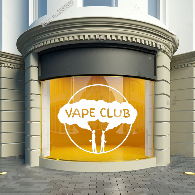 Vape Club Wall Window Decal Vinyl Sticker Vape Shop Art Glass Decor