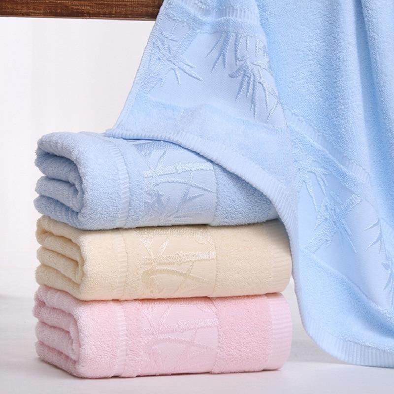 Free Shipping Blue Bamboo Fiber Bath Towel Jacquard Style  Size 70 x140 CM