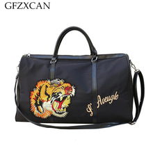 New large-capacity personality tiger head portable fitness bag travel men and women Oxford cloth waterproof