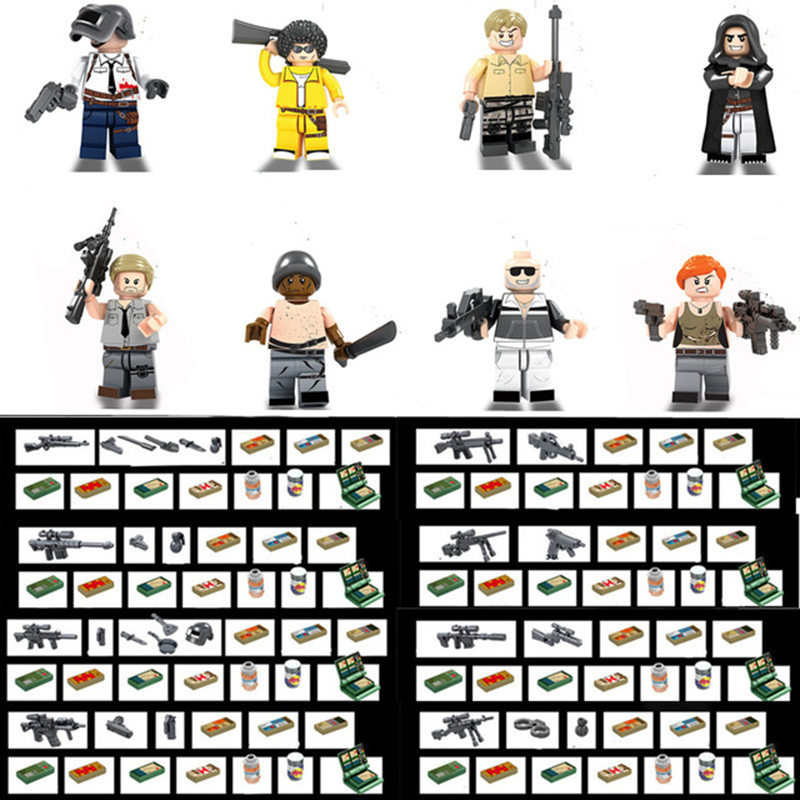 2018 NEW PUBG FPS Game MILITARY Winner Winner Chicken Dinner Army SWAT Soldier Building Blocks Figure Educational Toys Boys Gift