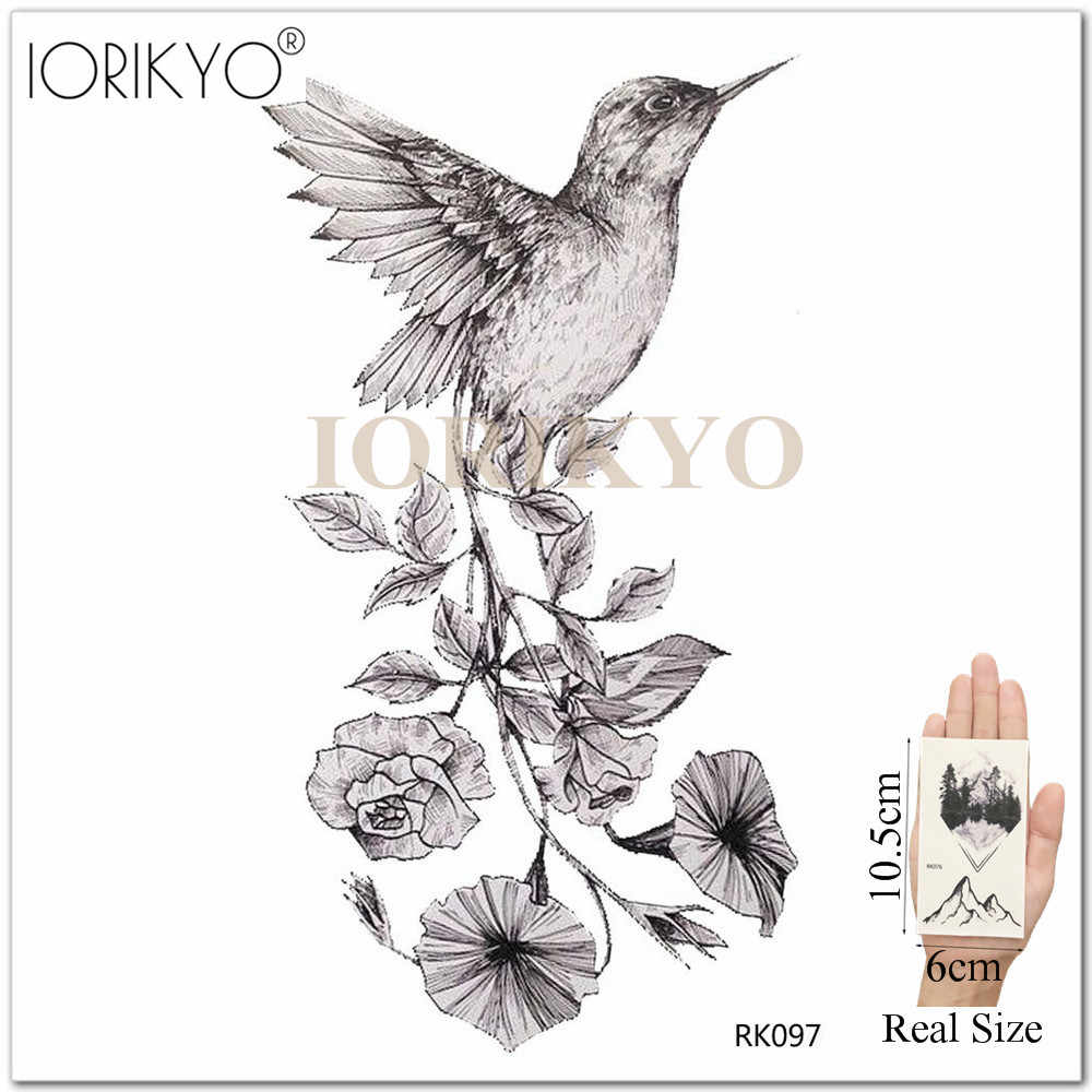 991c1151c ... New Black Hummingbird Temporary Tattoo Stickers Women Arm Pencil Sketch  Waterproof Tatoos Girls Forearm Birds Fake ...