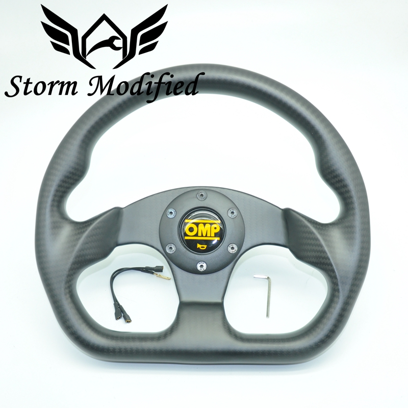 High grade entire 13inch OMP Matte Real Carbon Fiber Steering Wheel Drift Sport Steering Wheels OR13145