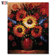 Flower Picture Painting By Numbers On Wall Acrylic Modern Style DIY Oil Coloring Number on Canvas Home Decor