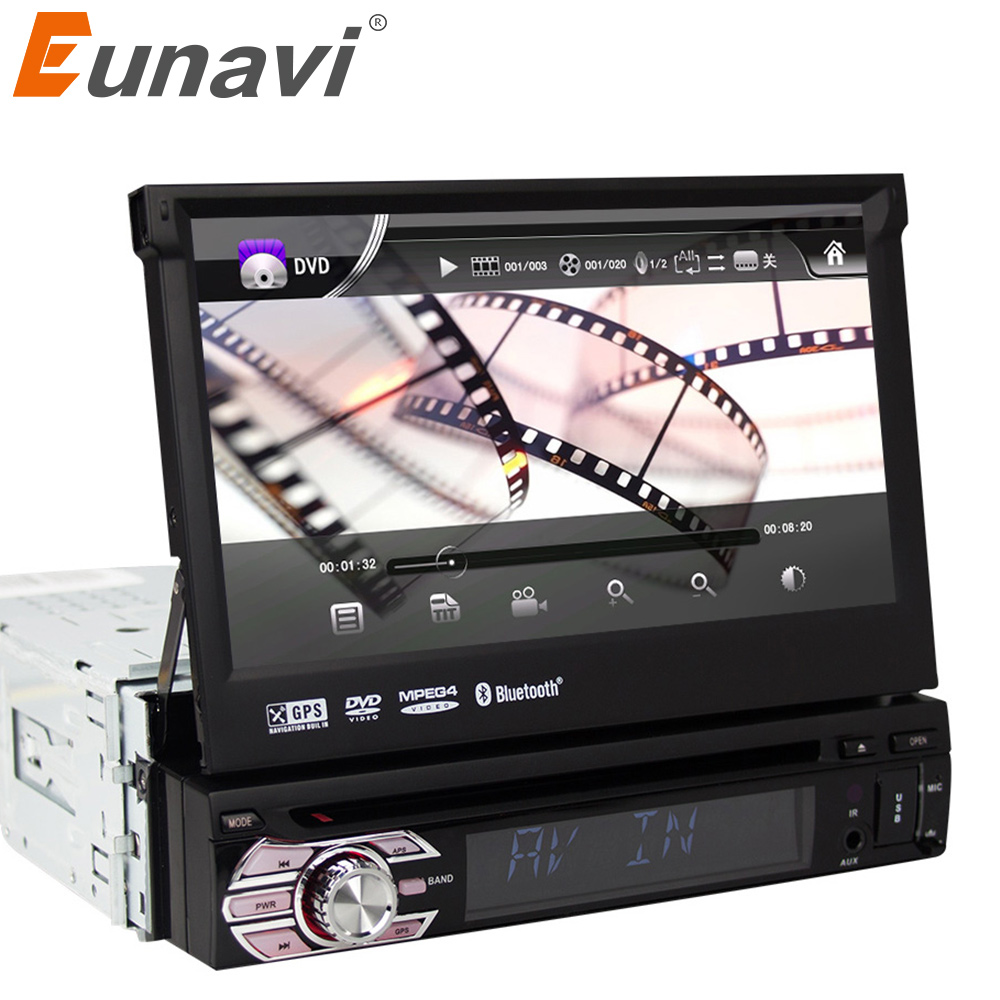 Eunavi Universal 7in TFT Touch Screen HD Car DVD-player Stereo Radio Tuner Audio GPS Memory Navigator Bluetooth Automotion 1 Din image