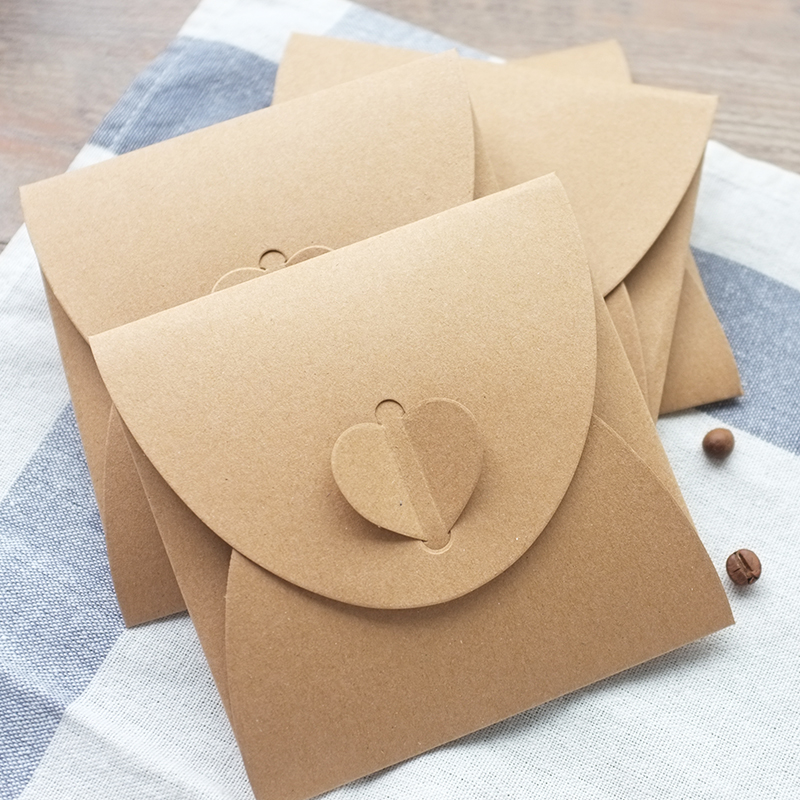 (10 Pieces/lot) 13*13cm Vintage Square Heart Buckle CD Envelopes Kraft Paper CD Bags