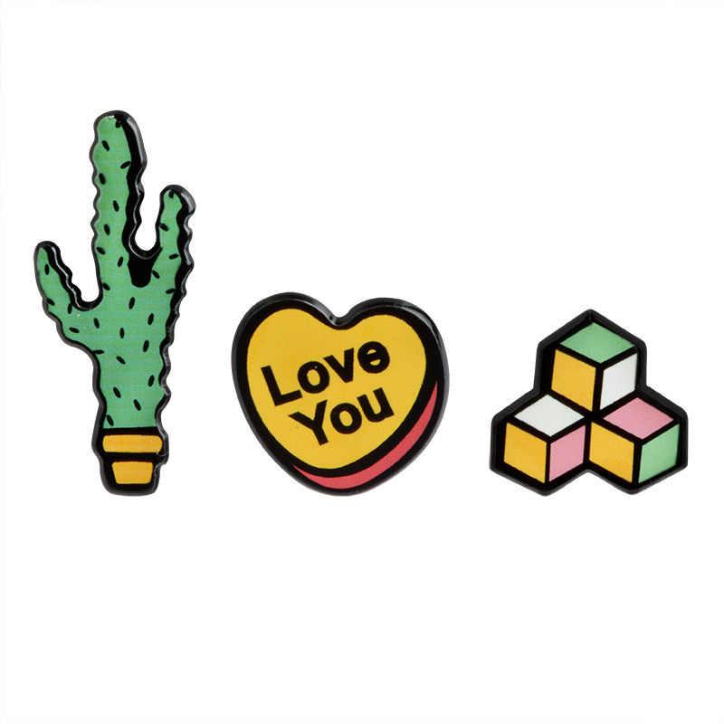 Kaktus Pot minyak Drop Lucu Indah Tombol Logam Bros Pins Pins Gadis Jins Tas Dekorasi Hadiah