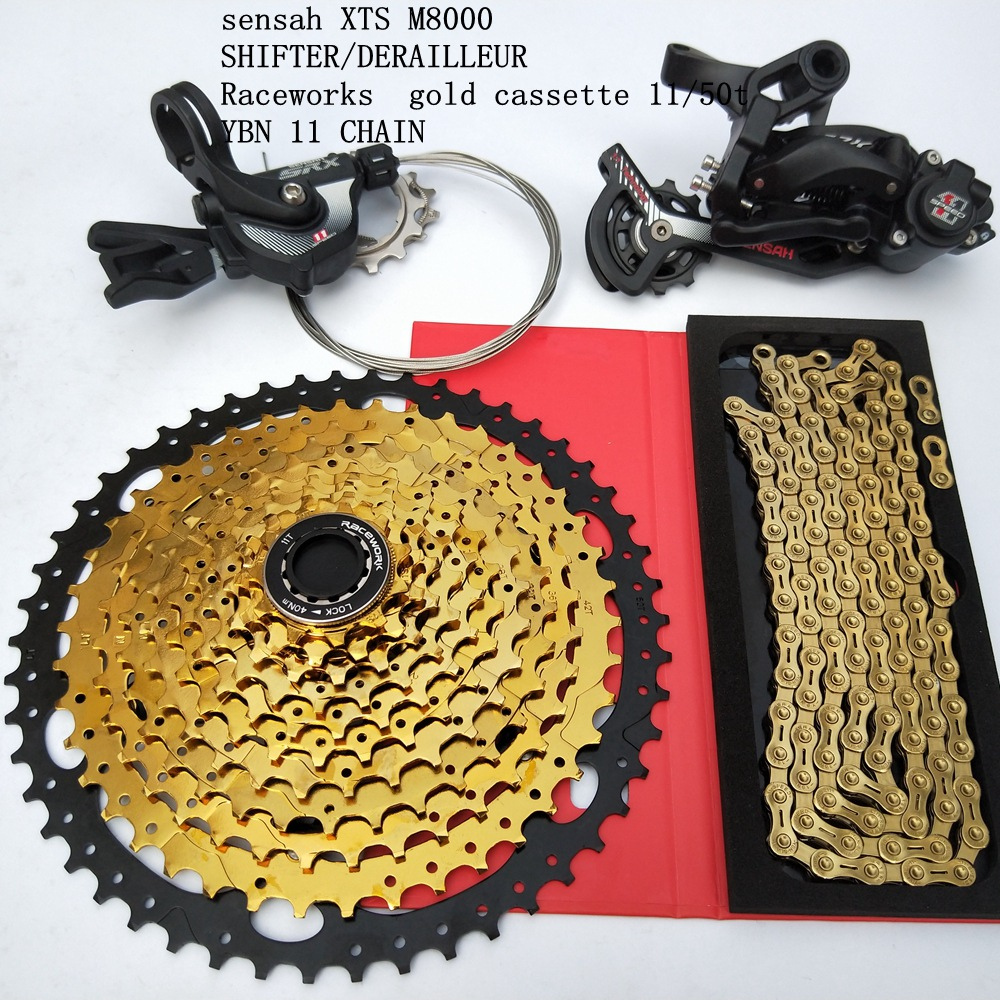 11 Speed MTB Groupset 50T Gold Cassette Shifter Rear Derailleur Gear Chain Mountain Bike 1*11S Group set For SRAM <font><b>Shimano</b></font> <font><b>M8000</b></font> image