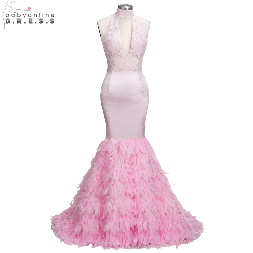 Beautiful Pink Feathers Mermaid Prom Dresses 2018 Sexy Halter ...