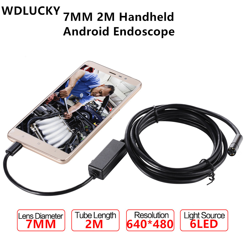 WDLUCKY Endoscope 7mm 2M Android Enoscope IP67 Waterproof Inspection Borescope Snake Tube Hard  Cable USB Endoscope Camera 2m 7mm 6led usb endoscope ip67 waterproof usb android endoscope borescope inspection snake tube mini micro endoscope camera