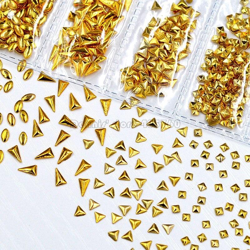 1 упаковка, смешанные золотистые 3D прямоугольные треугольные квадратные капли, овальные металлические гвоздики для ногтевого дизайна, стра...