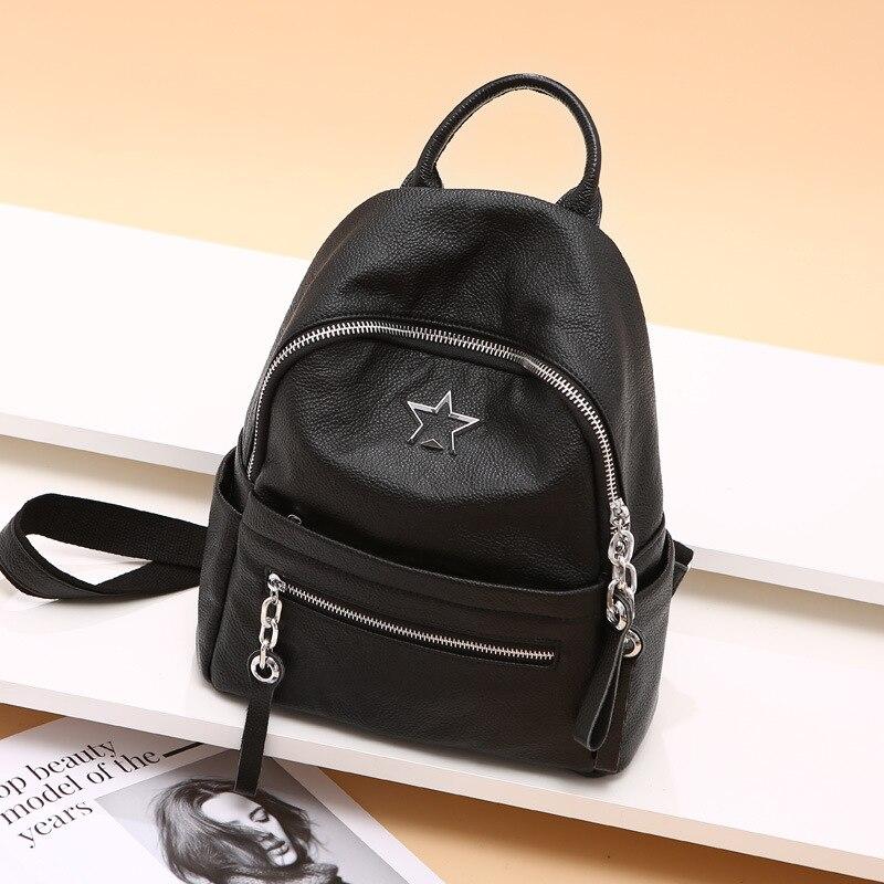 Sac à dos femmes 2019 nouvelle étoile européenne en cuir véritable sac à dos noir voyage petit sac à dos femmes Designer luxe sac à dos