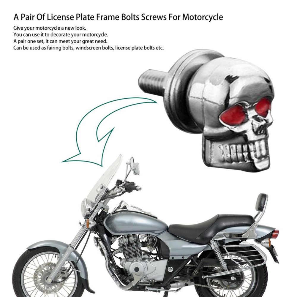 Kualitas Tinggi Pasang/Set Mobil Sepeda Motor Aksesoris Tengkorak Dekorasi Bingkai Plat Baut Sekrup Pengikat untuk Sepeda Motor