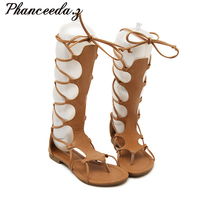 New 2017 Fashion Sexy Hollow Gladiator Cross Tied Black Brown Casual Pom Flat Sandals Knee Summer