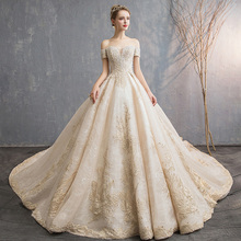 SERMENT Wedding dress 2020 Europe and America style minimalist  shoulder fashion ladies wedding