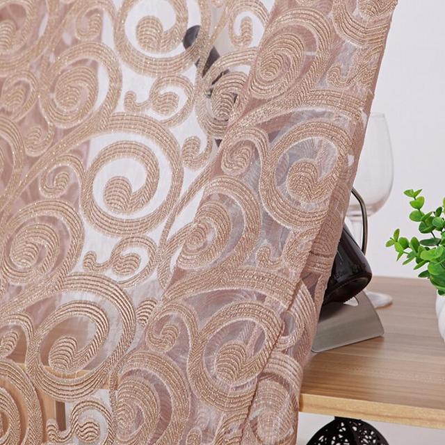 Tiyana Jacquard Geometrica Tende di Tulle Per La Cucina Soggiorno Sheer Finestra Schermi Balcone Pteris (Singolo Pannello) P051Z40
