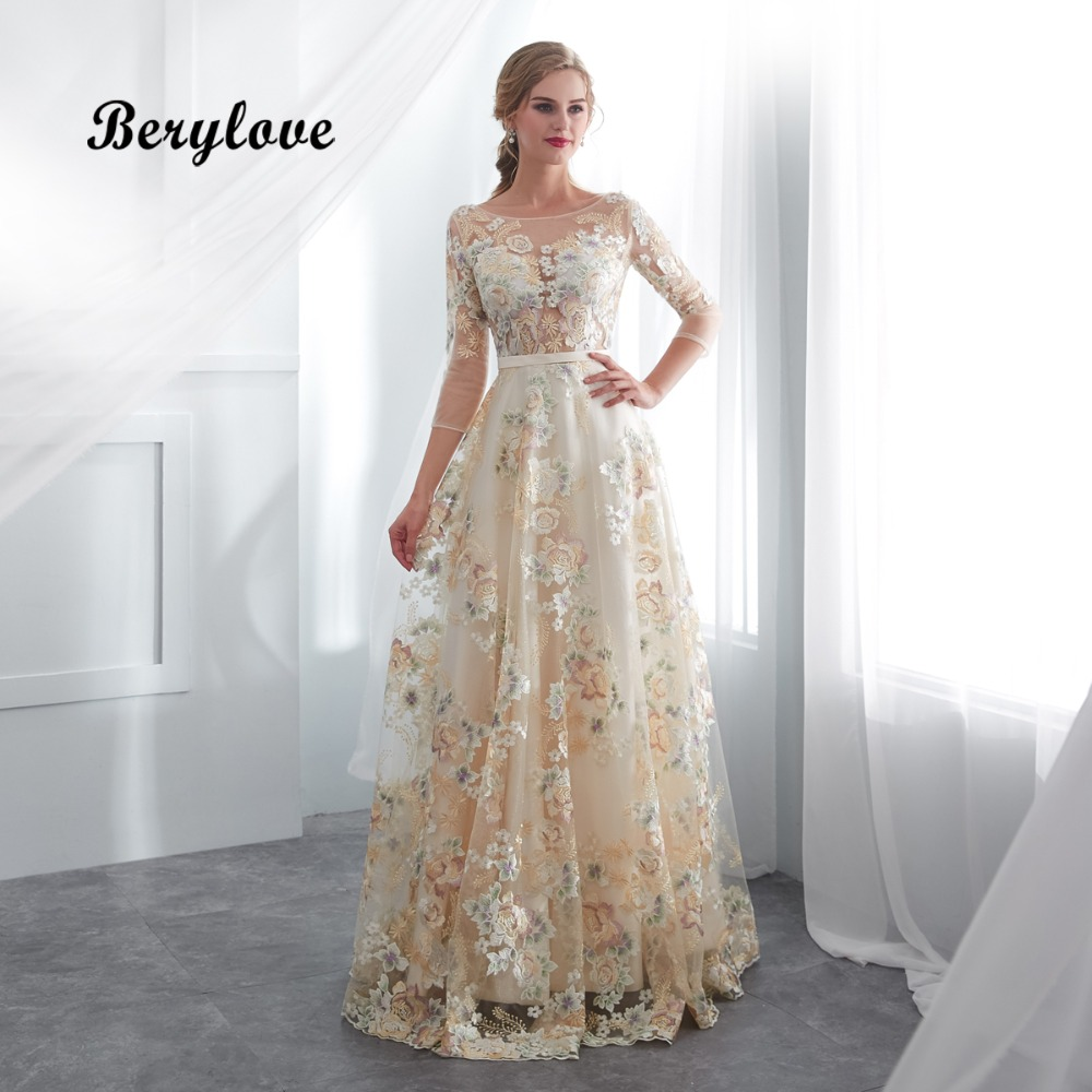 ... Gowns Evening Dresses. BeryLove Champagne Floral Prom Dresses With  Sleeves A Line Lace Prom Dress 2018 Vestidos De Fiesta d895a5a21b0d