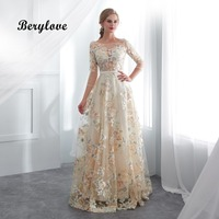 BeryLove Champagne Floral Prom Dresses With Sleeves A Line Lace Prom Dress 2018 Vestidos De Fiesta Prom Gowns Evening Dresses