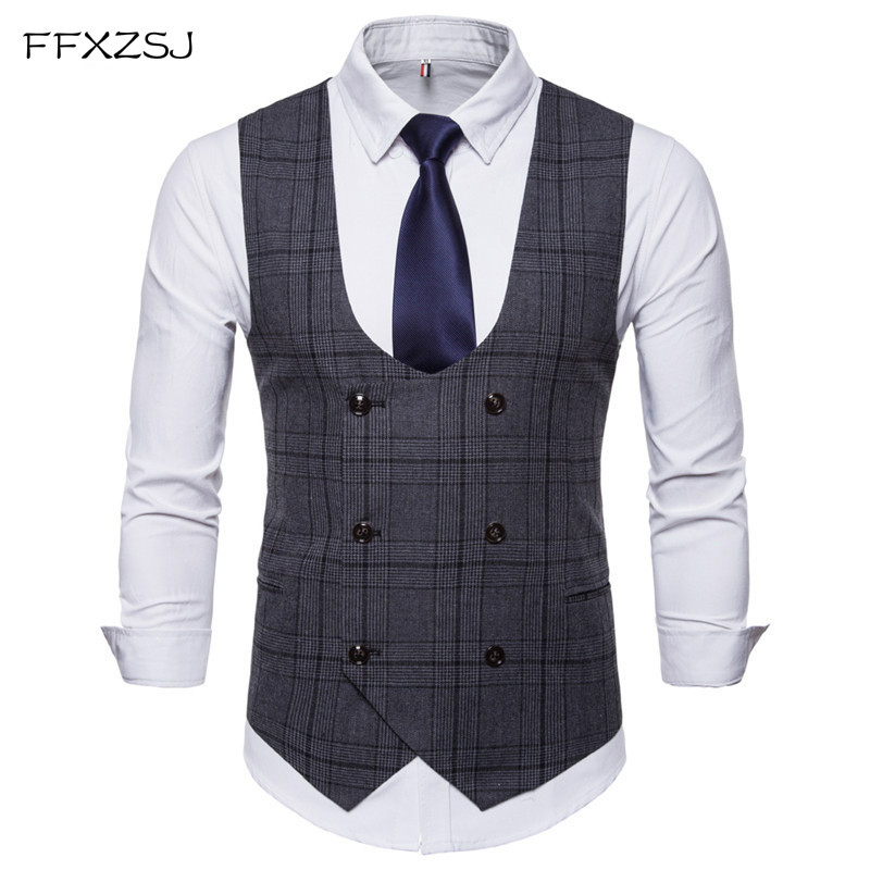 FFXZSJ2018 New Brand Men's Business Casual Vest High Quality Men's Clothing Men's Casual Plaid High Quality Double Breasted Vest