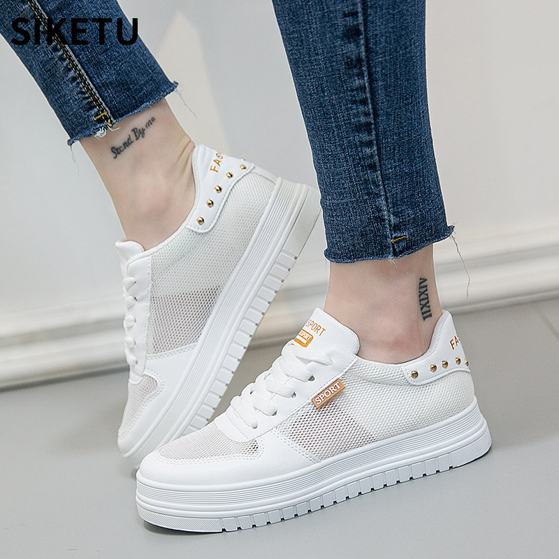 Women Causal Mesh Shoes hot fashion women flats platform shoes deportivas mujer Creepers women leisure sneakers white shoes