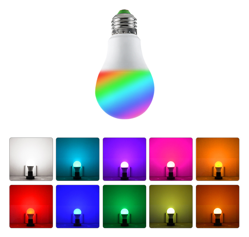 85-265V E27 LED Lamp RGB 15W Bluetooth APP Wifi Control Smart Bulb 10W RGBW RGBWW Light Bulb IR Remote Control Home Lighting (29)