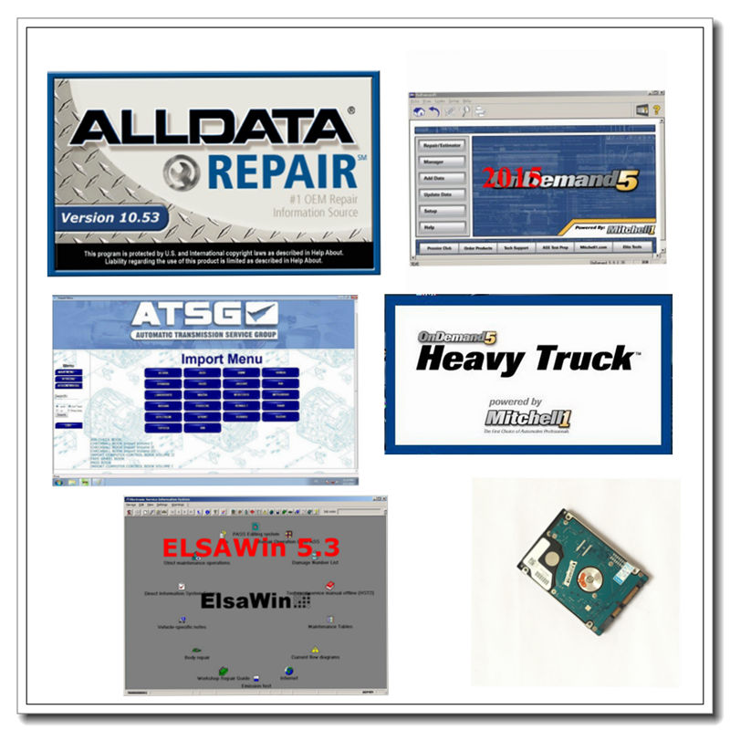 Auto Repair alldata Software ALLDATA 10.53+mitchell on demand software 2015v+ELSA 5.3+heavy truck 17in1TB HDD Hard Disk USB 3.0 alldata and mitchell software alldata 10 53v auto repair software mitchell ondemand 2015v vivid workshop data manager plus