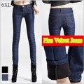 6 EXTRA GRANDE calças de Brim Novas Mulheres Versão Coreana de Veludo Grosso calças de brim Calças Pés Femininos Foi Finas Plus Size Calças De Brim do Lápis calças de brim