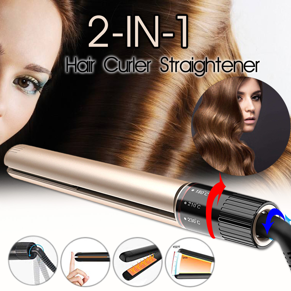 Kemei Hair Straightener Curler 2-IN-1 Rotating Adjustment Pr