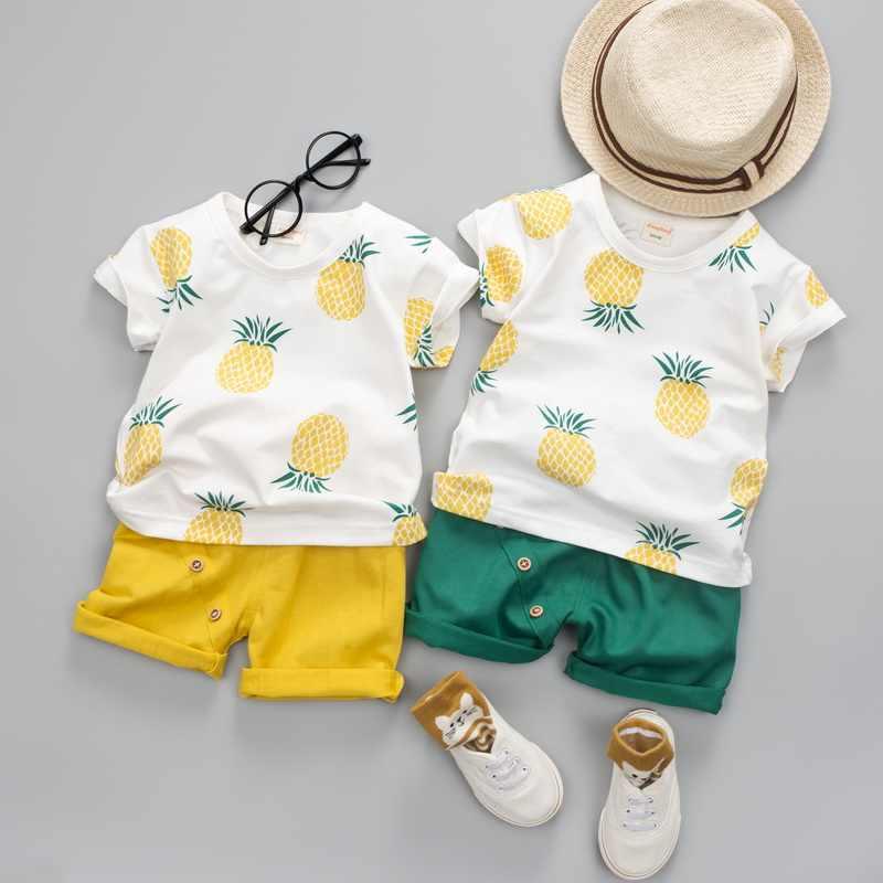 תינוק בני בנות קיץ בגדי אופנה כותנה סט מודפס פירות ספורט חליפת ילד החולצה מכנסיים ילדים בד סט ילדי בגדים