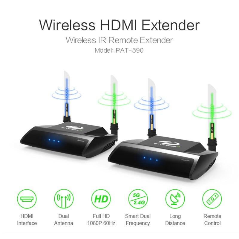 2.4G/5G 1080P HDMI AV Vídeo Receptor Transmissor Sem Fio IR Extender até 100M hdmi extensor HDMI Conversor HDMI Cabo AVC580 +