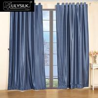 Silk Drapes Curtain Panels 22 Momme Classical Windows Drape Tab Top Header 6010
